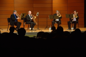 "The Great River Trombone Quartet (John Mueller, Joseph Frye, Micah Everett, Ed Morse) performing in November 2014. Just one ""non-Luddite"" among us...."